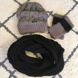 Slouch Hat, Infinity Scarf, & Fingerless Glove Set